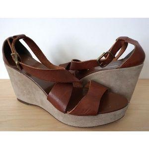 J CREW Brown Leather Suede Wedge Platform Heels 10